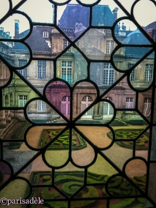 museum of history paris musee carnavalet stained glass window garden