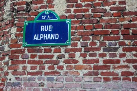 butte aux cailles paris rue alphand street sign