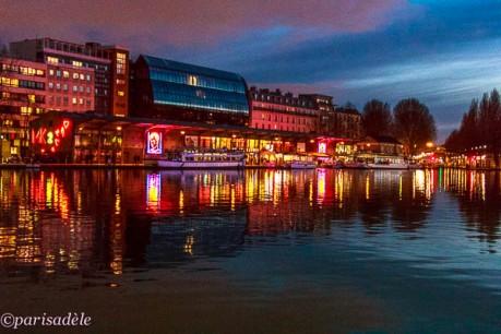basin de la villette paris at night reflections