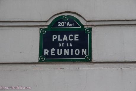 paris 20th arrondissement place de la reunion street sign